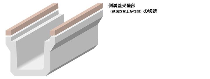 側溝蓋受壁部(側溝立ち上がり部)の切断