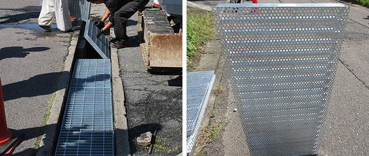 工事で使用した埋設蓋 排水用の穴が開いているタイプ