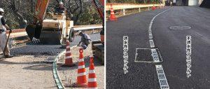 舗装工 歩道部の透水性アスファルトと車道部の不透水性アスファルト