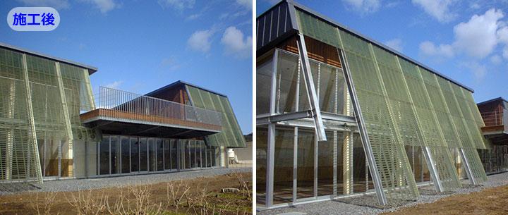 外壁の遮光ルーバーにFRPグレーチングを採用した建築物件