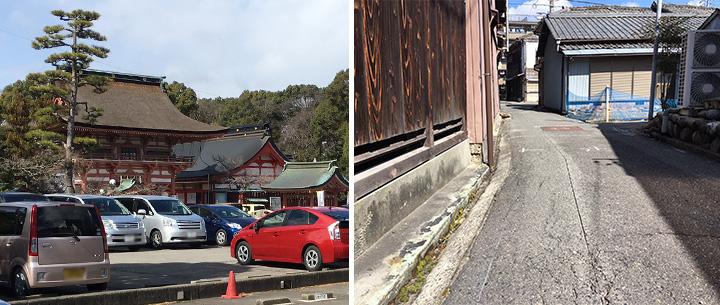 津島神社周辺の細い路地が入り組んだ住宅地