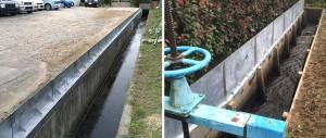 用水路側壁を嵩上げして越水対策を施した現場