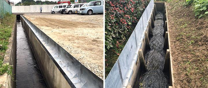 かさ上げ工事が完了した用水路