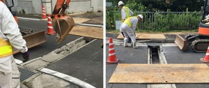 横断水路コンクリート蓋を撤去する