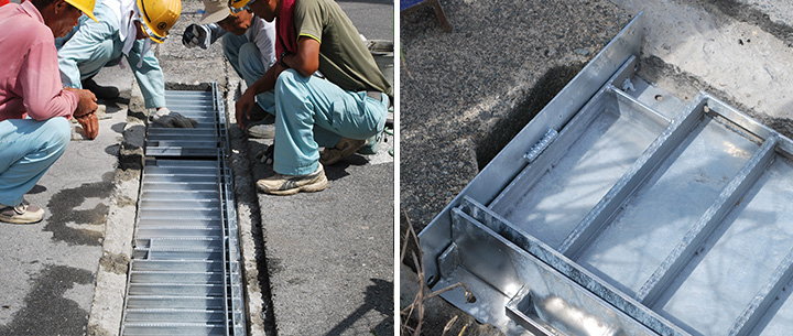 スリットクリエイター(排水埋設蓋)を敷設する