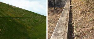 切土盛土の法面と小段排水路