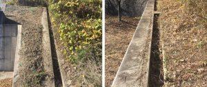 小枝や枯れ葉が溜まる排水溝・側溝