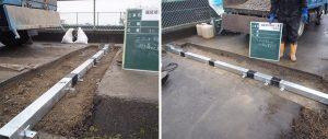 舗装と路盤の間に設置される鋼製側溝