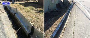U字溝を200ミリかさ上げして浸水災害対策を施した長野県大鹿村