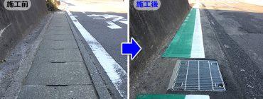 既設側溝を暗渠化し道路拡幅をした現場 茨城県牛久市