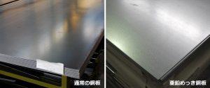 通常の鋼板と亜鉛めっき鋼板