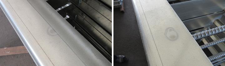 高耐食めっき鋼板(プレめっき鋼板)の溶接焼け跡
