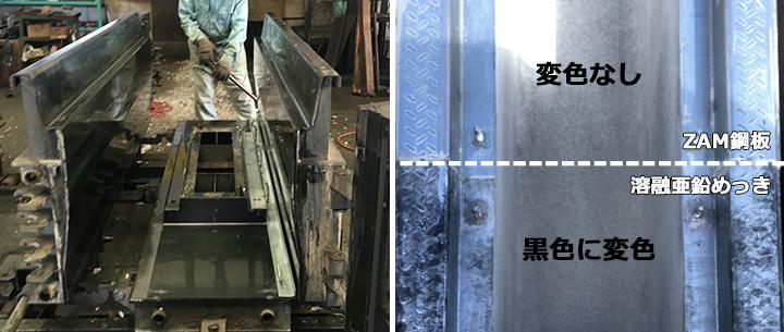 コンクリート成型後の溶融亜鉛めっき横断枠変色の様子