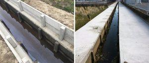 コンクリートでの従来水路かさ上げ工事