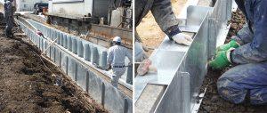 鋼製擁壁の設置