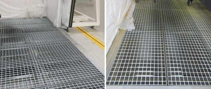 塗装ブースの床に使用した軽いグレーチング