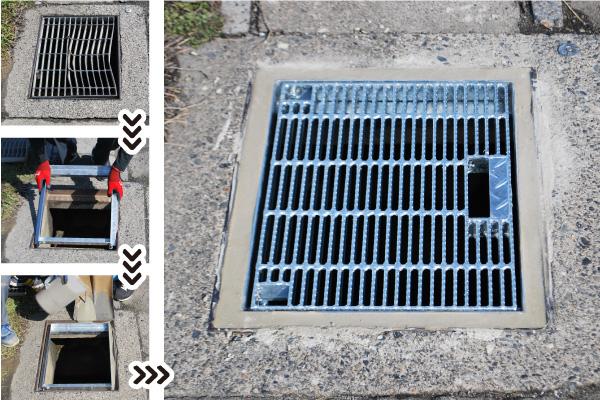古い排水蓋の改修が簡単にできる工法